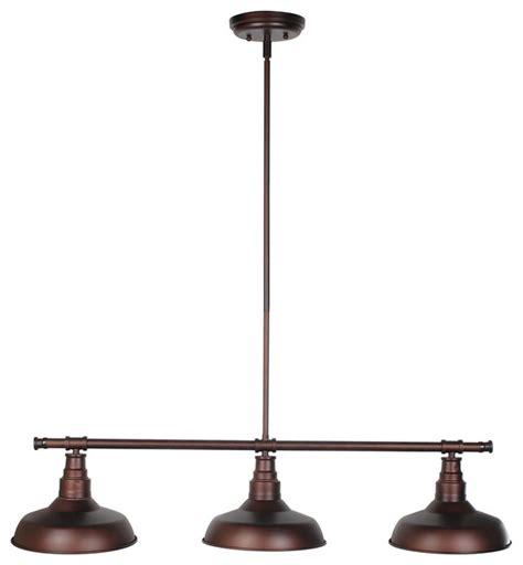 Industrial Style Island Lighting Kimball 3 Light Island Light Bronze Industrial Kitchen