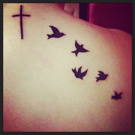 cross and birds tattoo cross and bird ideas
