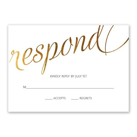 Wedding Invitations Response Cards by Style Script Foil Response Card Invitations By