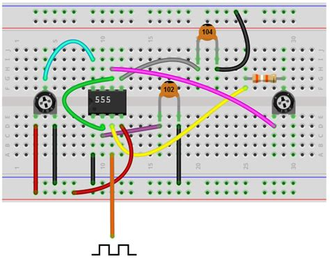 breadboard circuit for 555 timer how to build an adjustable square wave generator circuit with a 555 timer