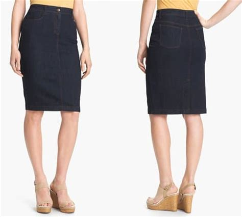 how to wear a vintage inspired denim pencil skirt like