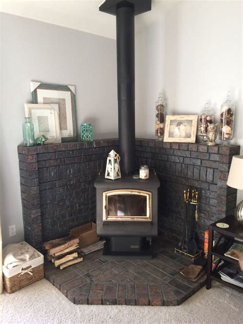 updated    corner wood burning stove fireplace