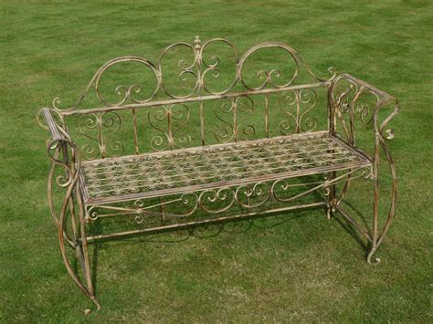 cream garden bench antiqued cream metal garden bench melody maison 174