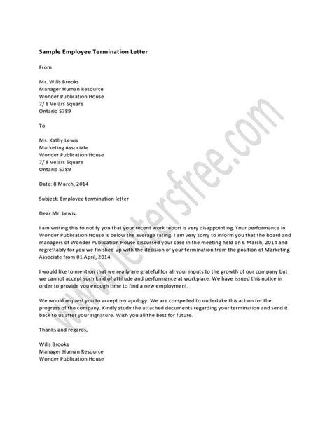 End Of Contract Letter To Employment Sle termination letter format doc 28 images doc 10341335