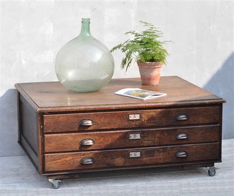 Vintage Oak Plan Chest Coffee Table On Wheels Antique Chest Coffee Table