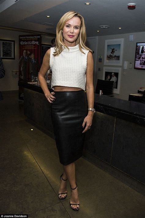 cutting it in leather amanda holden looked sensational at