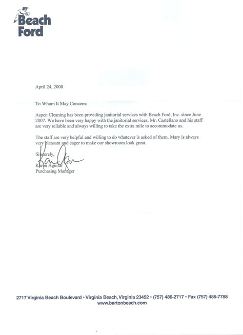 Recommendation Letter For Cleaner Letters Of Recommendations Aspen Cleaning Company Norfolk