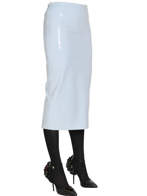 rochas patent leather pencil skirt in blue lyst