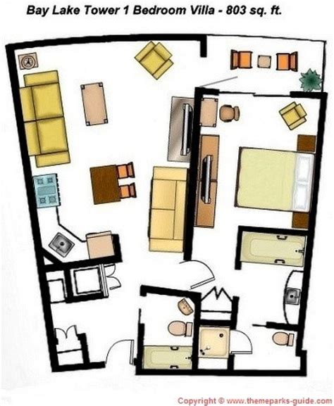 bay lake tower 2 bedroom floor plan bay lake tower at disney s contemporary resort 1 bedroom villa floor plan 803 sq ft disney