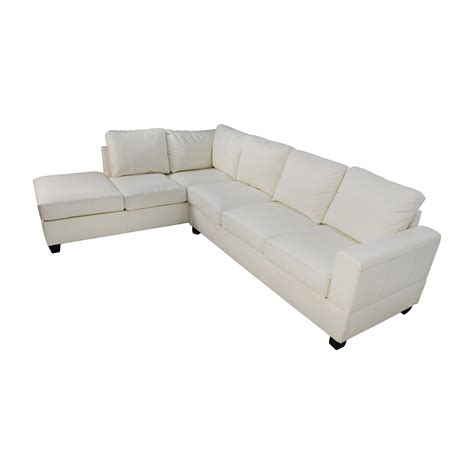 45 Off L Shaped White Leather Sectional Sofas White Leather L Shaped Sofa