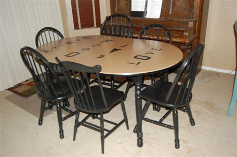 kitchen table refinished with distressed look of and