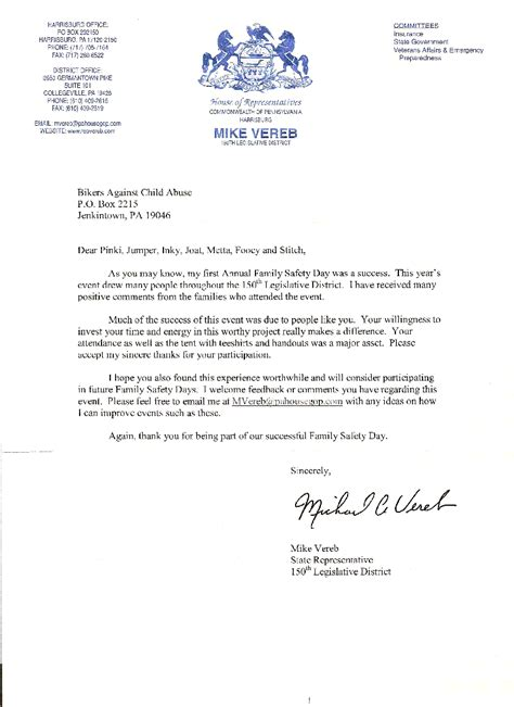 Thank You Letter For Donation Of Blankets B A C A Bikers Against Child Abuse