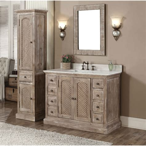 Bathroom Vanities With Matching Linen Tower Rustic Style Carrara White Marble Top 48 Inch Bathroom