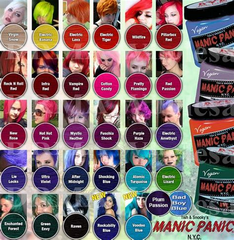 manic panic hair color chart 17 best ideas about manic panic color chart on