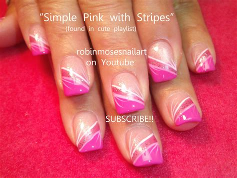 easy nail art stripes easy nail art simple pink with stripes xlfwdg easy nail art