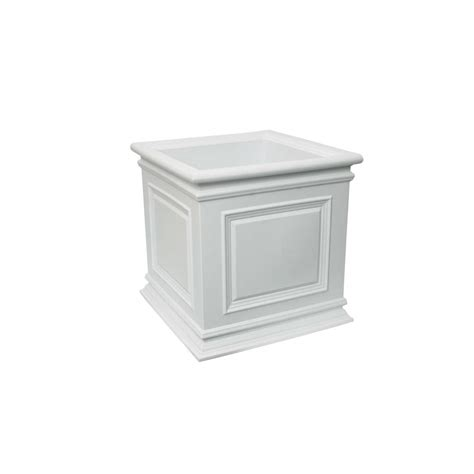 mayne fairfield 20 in square white plastic planter 5825w