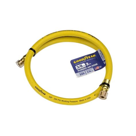 goodyear 3 ft x 3 8 in rubber whip hose yellow 10323