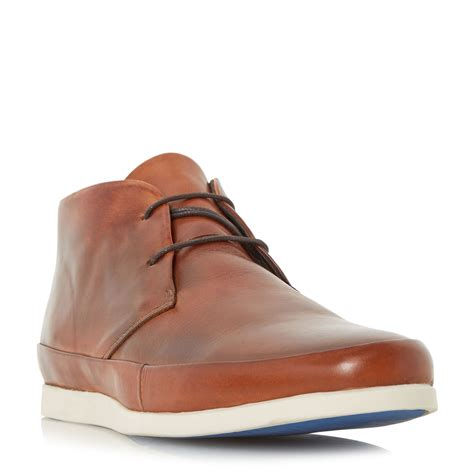 bertie clyde leather lace up boot in brown for