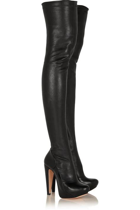 designer high heel boots designer chunky heel thigh high boots platform