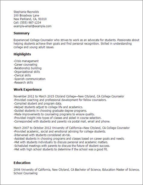 Child Care Counselor Sle Resume by College Career Counselor Resume 28 Images Exles Of Resumes Free Charming Child Actor Sle C