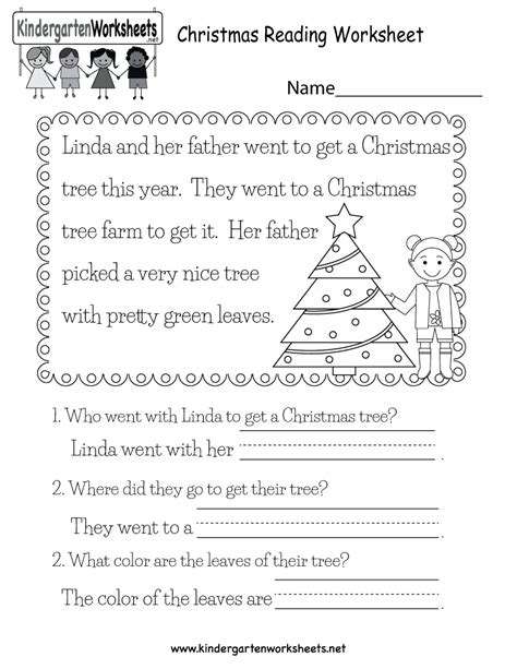 free christmas printable worksheets reading comprehension christmas reading worksheet free kindergarten holiday