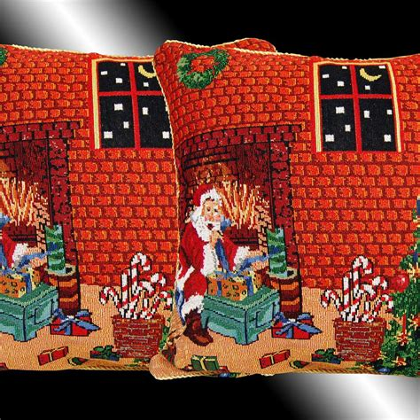 new set red christmas santa claus tapestry cushion covers