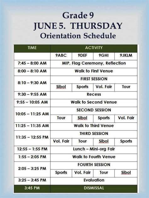 Mba Orientation Schedule grade 9 orientation schedule june 4 6 2014 ateneo de