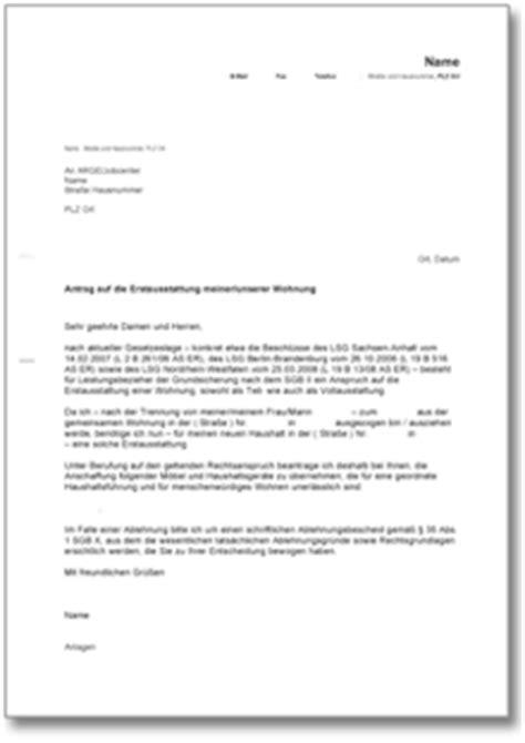 Musterbrief Wohnungsbewerbung Antrag Bei Der Arge Auf Eine Erstausstattung M 246 Bel Etc