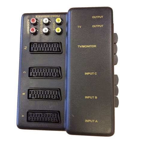 Tv Switch Box Rca 3 Input 1 Output With Composite Av Rca Cable 3 way scart selector switch box unit av tv splitter rca output composite ebay