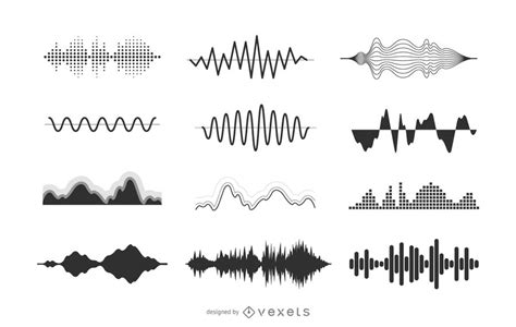 collection of simple wave vector illustration of sound waves illustration collection vector