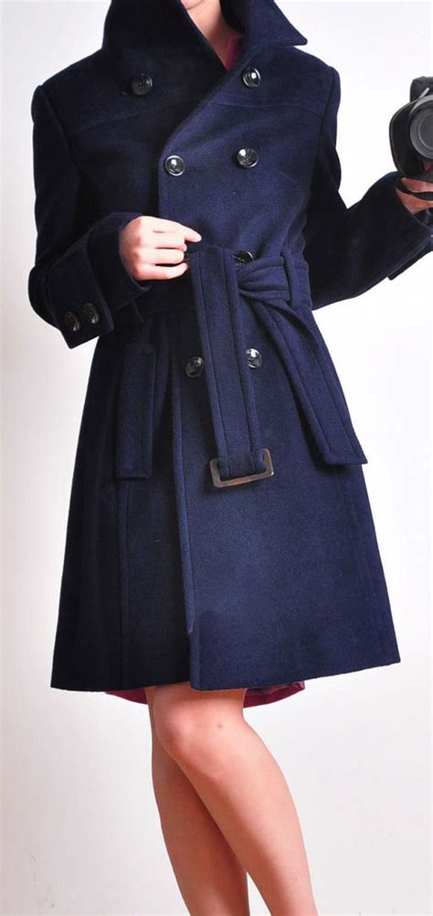 Timeless Trench Coats by Timeless Navy Blue Alpaca Wool Breasted Winter