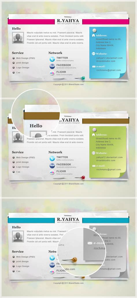 vcard template free psd download