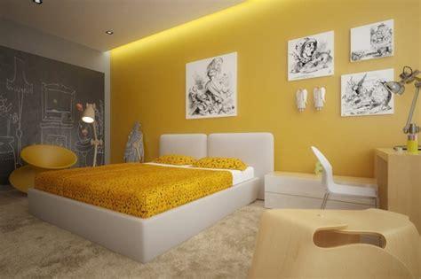 gelbe farbgestaltung im schlafzimmer  fotos