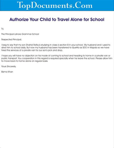 authorization letter to bring child from india authorize letter for your child to travel alone for school