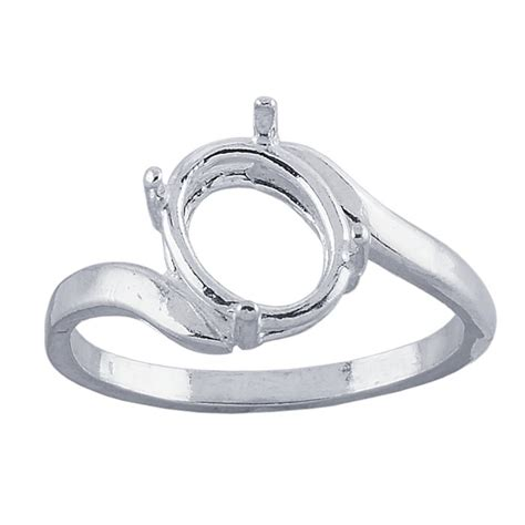 sterling silver 9 x 7mm oval ez mount ring mounting