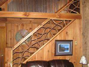 handmade mountain laurel interior railing with distressed
