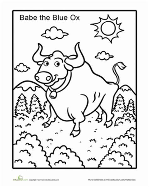 Paul Bunyan Babe Worksheet Education Com Paul Bunyan Coloring Pages