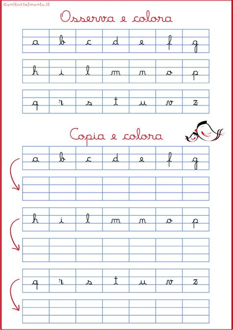 lettere minuscole in corsivo corsivo minuscolo schede esercizi genitorialmente
