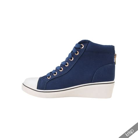 high heel sneakers womens gem canvas high heel wedge trainers sneakers low