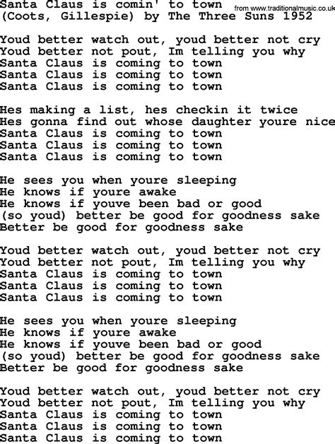 printable lyrics for santa claus is coming to town new christmas song lyrics english lyrics