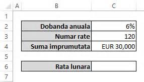 Formula Excel Rata Credit Calcul Rata Credit In Excel Functia Pmt Excelninja Ro