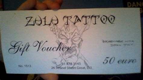 zulu tattoo prices zulu tattoo 50 euro voucher for sale in newcastle galway