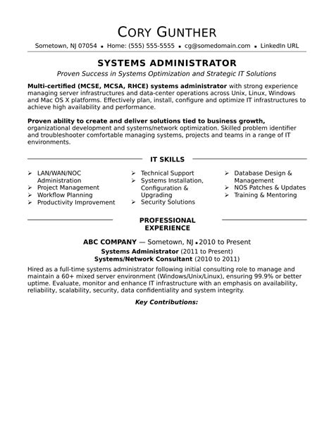sysadmin cover letter sle resume for an experienced systems administrator