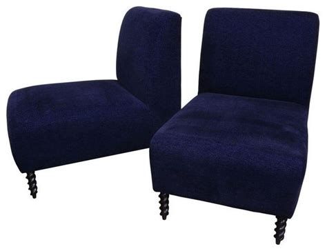 Navy Blue Accent Chair Navy Blue Slipper Chair A Pair Modern Armchairs And Accent Chairs By Chairish