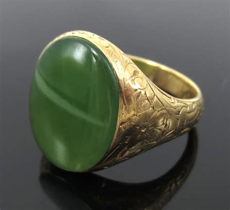 antique jade carved 14k yellow gold signet ring ebay