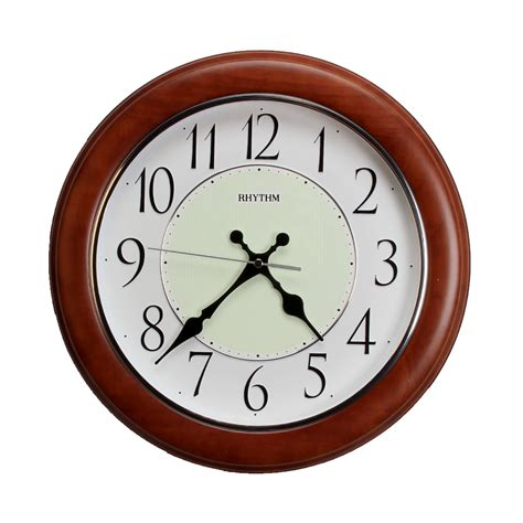 silent wall clocks rhythm real wood brown silent wall clock