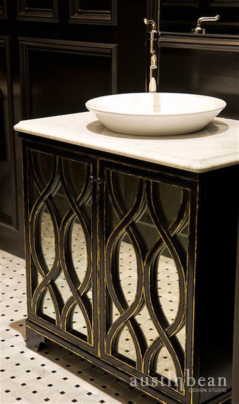 Black Mirrored Vanity black mirrored vanity bathroom bean design studio