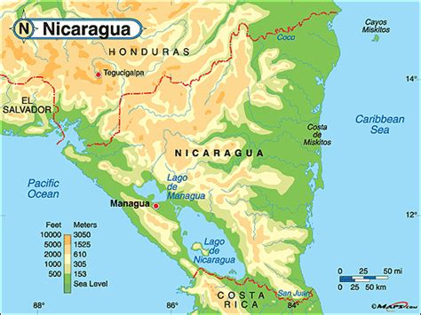 physical map of nicaragua nicaragua geographischen karte