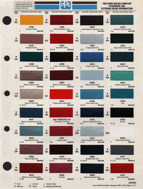 ford paint colors paint chips 1993 ford truck