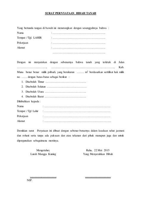 format surat kuasa hibah tanah surat peryataa hibah tanah fariki
